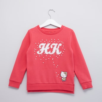 Hello Kitty Pearl Detail Sweat Top with Round Neck and Long Sleeves