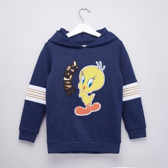 Tweety Textured Hoodie with Sequin Detail and Long Sleeves