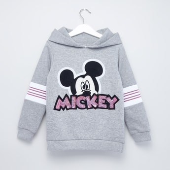 Mickey Mouse Printed Sweatshirt with Hooded Neck and Long Sleeves