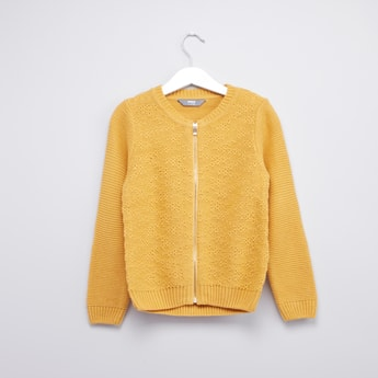 Textured Zip Front Sweater with Long Sleeves