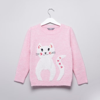 Sequinned Cat Embroidered Sweater