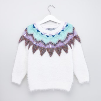 Aztec Textured Round Neck Sweater with Long Sleeves