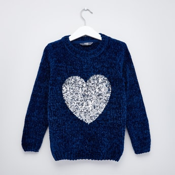 Sequin Detail Textured Sweater with Round Neck and Long Sleeves