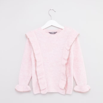 Ribbed Frill Detail Sweater with Round Neck and Long Sleeves