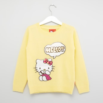 Hello Kitty Sequin Embellished Sweater with Long Sleeves