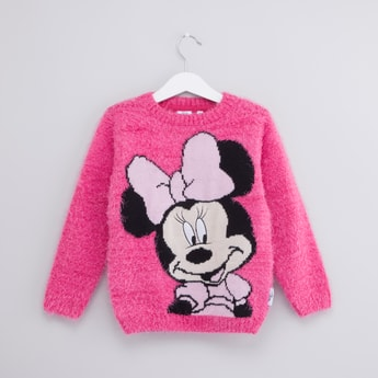 Minnie Mouse Printed Sweater with Round Neck and Long Sleeves