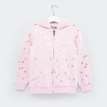 Spot Printed Hooded Jacket with Long Sleeves and Zip Closure