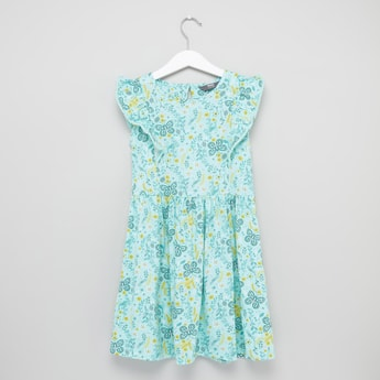 Butterfly Printed Sleeveless Dress with Round Neck