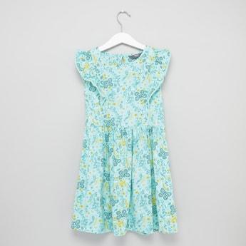 فستان بياقة مستديرة دون أكمام بطبعات فراشة
