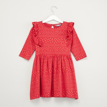 Spot Print Round Neck Dress with 3/4 Sleeves