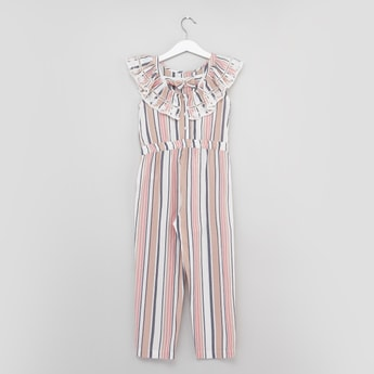 Striped Jumpsuit with Ruffle Detail