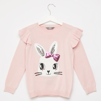 Bunny Embellished Round Neck Sweater with Long Sleeves