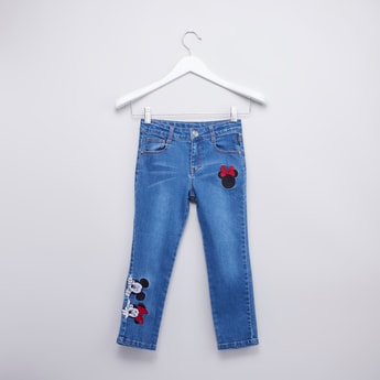 Mickey Mouse Embroidered Jeans with Pocket Detail and Belt Loops