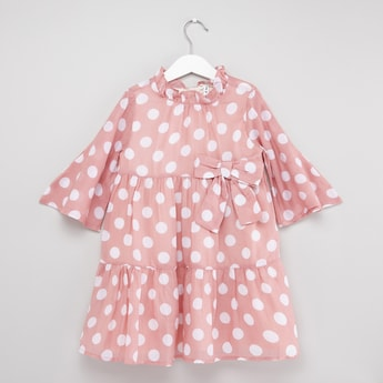 Polka Dots Printed Dress with Trumpet Sleeves and Frill Detail