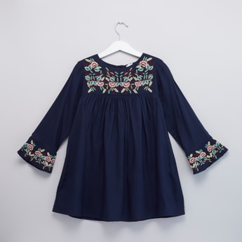 Floral Embroidered Round Neck Dress with Long Sleeves