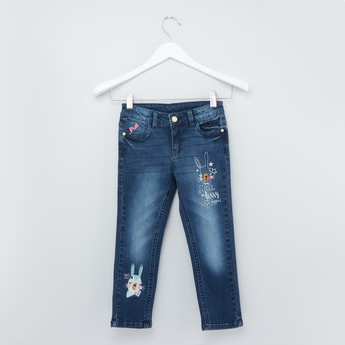 Full Length Jeans with Pocket Detailing and Button Closure