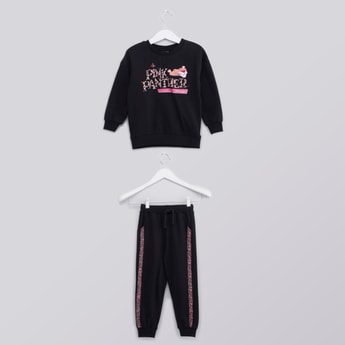 Pink Panther Printed Round Neck Sweatshirt and Jogger Set