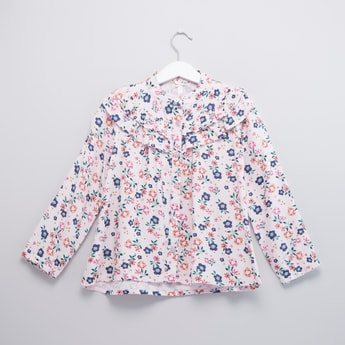 Floral Printed Blouse with Mandarin Collar and Long Sleeves