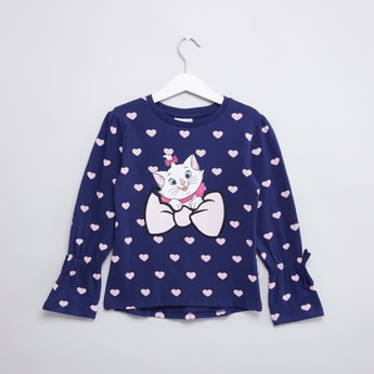 Marie Printed T-shirt with Round Neck and Long Sleeves