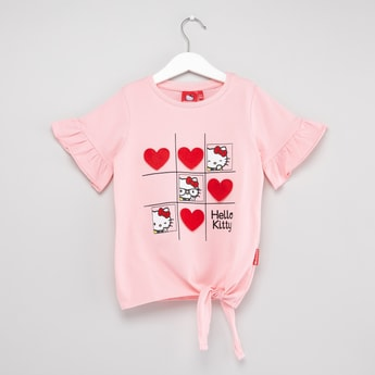 Hello Kitty Printed T-shirt with Short Sleeves and Knot Detail