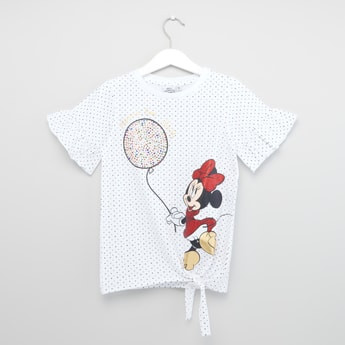 Minnie Mouse Prined T-shirt with Flared Sleeves and Tie Ups