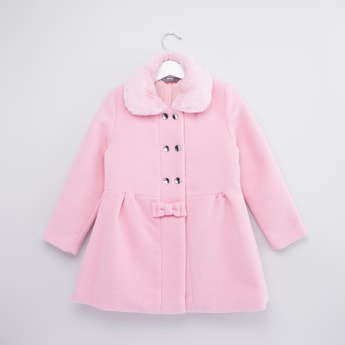 Textured Jacket with Long Sleeves and Button Closure