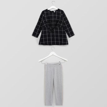 Chequered Round Neck Top with Full Length Pants