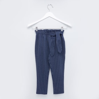 Striped Full Length Pants with Tie Ups and Elasticised Waistband