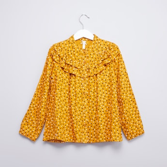 Printed Top with Mandarin Collar and Ruffle Detail