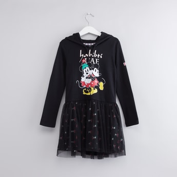 Mickey and Minnie Mouse Printed Dress with Hood and Long Sleeves