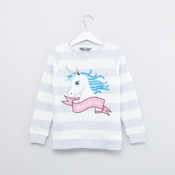 Unicorn Printed Sweatshirt with Round Neck and Long Sleeves