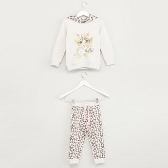 Set of 2 - Printed Round Neck T-shirt and Full Length Jog Pants
