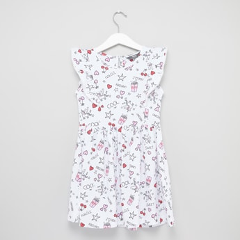 Printed Sleeveless Dress with Round Neck