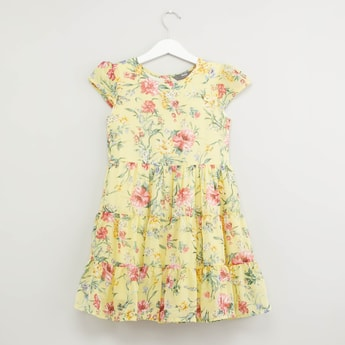 Floral Print Dress with Round Neck and Cap Sleeves