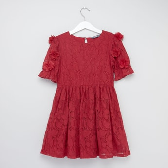 Embroidered Lace Round Neck Dress with Floral Applique