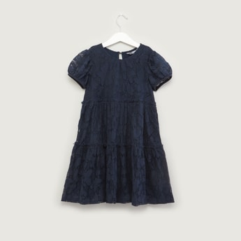 Tiered Lace Dress with Short Puff Sleeves