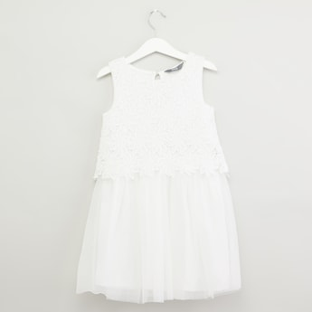 Sleeveless Tiered Lace Dress with Keyhole Detail