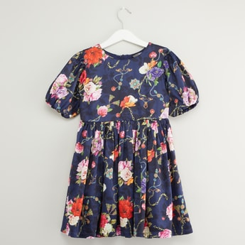 Floral Print Pleated Dress with Zip Closure