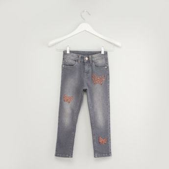 Butterfly Sequin Detail Jeans with Pockets