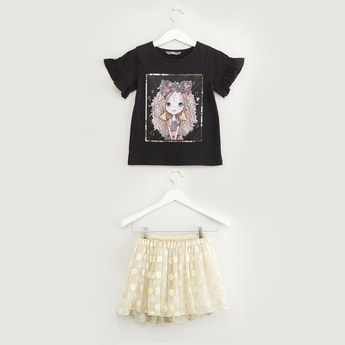 Graphic Print Short Sleeves T-shirt with Tutu Skirt