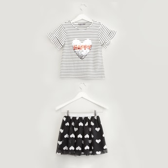 Sequin Detail Striped T-shirt with Heart Print Tutu Skirt