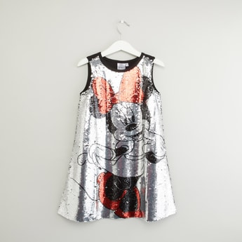 Minnie Mouse Sequin Detail Sleeveless Dress with Round Neck