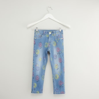 Emoji Print Skinny Jeans with Button and Zip Closure