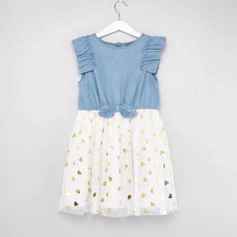 Heart Foil Detail Denim Dress with Bow Applique