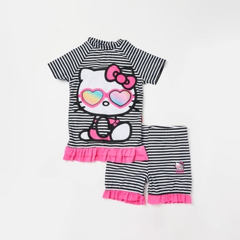 Hello Kitty Print Short Sleeves T-shirt and Shorts with Ruffle Detail