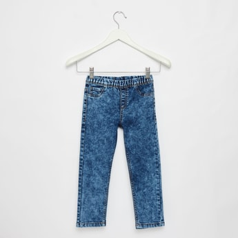 Acid Wash Solid Pull On Jeans with Pockets and Elasticised Waistband