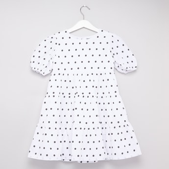 Polka Dot Print Tiered Dress with Puff Sleeves