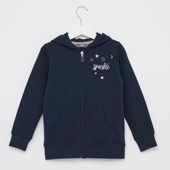 Typographic Print Hoodie Jacket with Pocket Detail and Long Sleeves