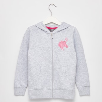 Unicorn Print Anti-Pilling Jacket with Long Sleeves and Hood