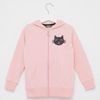 Cat Print Hoodie Jacket with Long Sleeves and Pocket Detail
